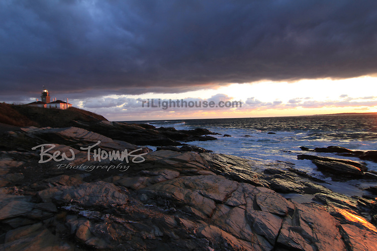 Night approaches the Beavertail Lighthouse.