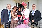 Louis McDonagh, Deirdre O'Sullivan, Mairead Corridan, Nollaig McEnery and John Maguire at Listowel Races Ladies Day on Sunday.