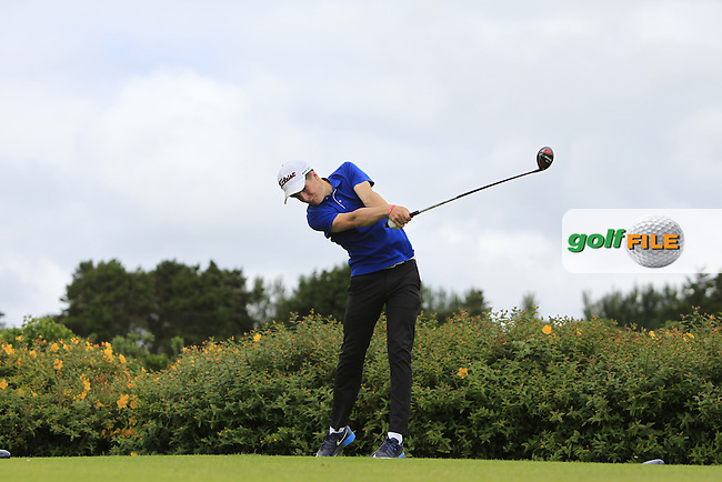 Cillian Lawless (Athenry) on the 18th tee during R1 of the 2016 Connacht U18 Boys Open, played at Galway Golf Club, Galway, Galway, Ireland. 05/07/2016. <br /> Picture: Thos Caffrey | Golffile<br /> <br /> All photos usage must carry mandatory copyright credit   (&copy; Golffile | Thos Caffrey)