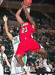 Louisiana Lafayette Ragin Cajuns forward/center Kadeem Coleby (23) in action during the game between the Louisiana Lafayette Ragin Cajuns and the University of North Texas Mean Green at the North Texas Coliseum,the Super Pit, in Denton, Texas. Louisiana Lafayette defeats UNT 57 to 53.