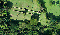 Aerial view of the ruins of the Ingenio de Diego Caballero sugar mill, originally owned by Don Diego Caballero de la Rosa, where sugar cane was processed using hydraulic power, at San Cristobal, Dominican Republic, in the Caribbean. The site includes many colonial era buildings, including the mill, boiling house, ditches and furnaces. Picture by Manuel Cohen