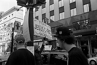 FILE - Leica  street photo of a jesus freak in Montreal, august 2015 (exact date unknown<br /> <br /> Photo : <br /> Pierre Roussel - Agence Quebec Presse