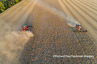 63801-13507 Combines harvesting soybeans in fall-aerial  Marion Co. IL