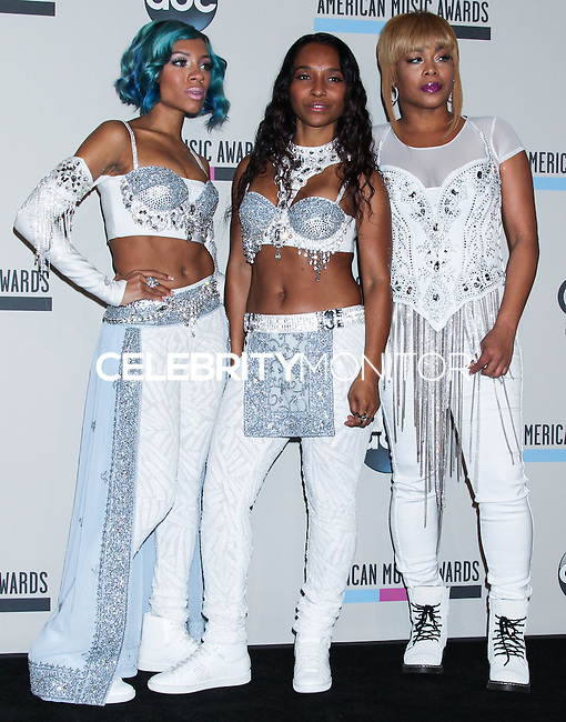LOS ANGELES, CA - NOVEMBER 24: Lil Mama and TLC's Tionne 'T-Boz' Watkins and Rozonda 'Chilli' Thomas in the press room at the 2013 American Music Awards held at Nokia Theatre L.A. Live on November 24, 2013 in Los Angeles, California. (Photo by Celebrity Monitor)
