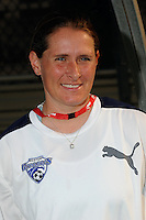 Boston Breakers assistant coach Lisa Cole. Sky Blue FC defeated the Boston Breakers 2-1 during a Women's Professional Soccer match at Yurcak Field in Piscataway, NJ, on May 31, 2009.