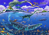 Interlitho, Lorenzo, REALISTIC ANIMALS, paintings, underwater, dinosaurs, KL4344,#A# realistische Tiere, realista, illustrations, pinturas ,puzzles
