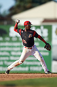 Batavia Muckdogs shortstop Samuel Castro (25) throws to first base during the second game of a doubleheader against the Auburn Doubledays on September 4, 2016 at Dwyer Stadium in Batavia, New York.  Batavia defeated Auburn 6-5. (Mike Janes/Four Seam Images)