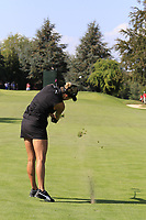 Lexi Thompson (USA) plays her 2nd shot on the 6th hole during Thursday's Round 1 of The Evian Championship 2018, held at the Evian Resort Golf Club, Evian-les-Bains, France. 13th September 2018.<br /> Picture: Eoin Clarke | Golffile<br /> <br /> <br /> All photos usage must carry mandatory copyright credit (© Golffile | Eoin Clarke)