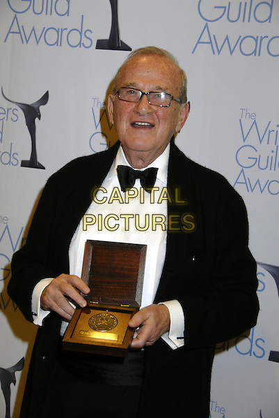 LARRY GELBART.The Writers Guild of America West Awards held at the Hyatt Regency Century Plaza Hotel, Century City, California, USA. .February 11th, 2007.half length black award trophy glasses bow tie.CAP/ADM/GB.©Gary Boas/AdMedia/Capital Pictures