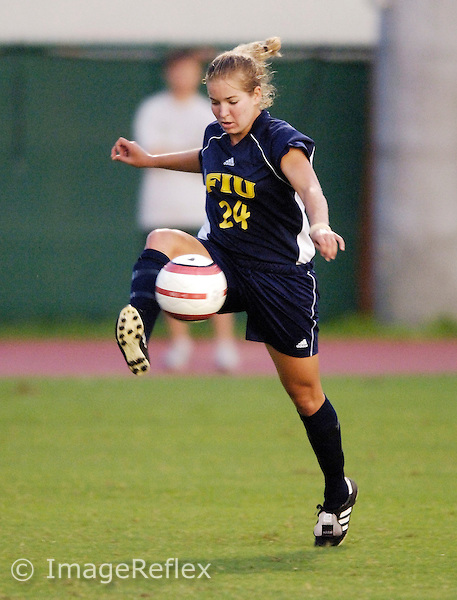 Florida International University Golden Panthers Women's Soccer versus the University of Miami Hurricanes in Coral Gables, Florida on Wednesday, September 6, 2006...Junior midfielder Julie Mushill (24)