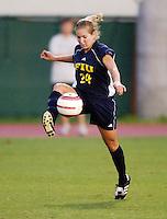 Florida International University Golden Panthers Women's Soccer versus the University of Miami Hurricanes in Coral Gables, Florida on Wednesday, September 6, 2006...Junior midfielder Julie Mushill (24)