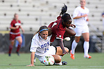 14 August 2014: Duke's Morgan Reis (24) and South Carolina's Raina Johnson (4). The Duke University Blue Devils hosted the University of South Carolina Gamecocks at Koskinen Stadium in Durham, NC in a 2014 NCAA Division I Women's Soccer preseason match. Duke won the exhibition 2-0.