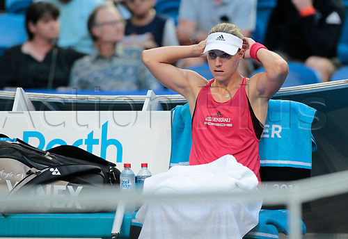 6th January 2018, Perth Arena, Perth, Australia; MasterCard Hopman Cup Tennis Final; Angelique Kerber of Team Germany rests during a break in the Final against Belinda Bencic of Team Switzerland