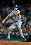 12 September 2008: Kansas City Royals' starting pitcher Gil Meche in action against the Cleveland Indians at Progressive Field in Cleveland, Ohio. The Indians defeated the Royals 12-5 in the first game of their 4-game series...Mandatory Photo Credit: Ed Wolfstein Photo