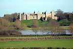 Curtain walls of Framlingham Castle viewed over the Mere, Suffolk