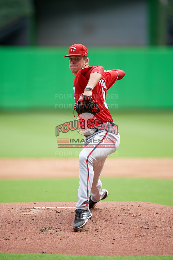 Washington Nationals starting pitcher Mason Denaburg (51) delivers a warmup pitch during a Florida Instructional League game against the Miami Marlins on September 26, 2018 at Marlins Park in Miami, Florida.  (Mike Janes/Four Seam Images)