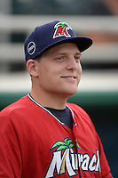 Fort Myers Miracle pitcher Luke Westphal (33) before a game against the Tampa Yankees on April 15, 2015 at Hammond Stadium in Fort Myers, Florida.  Tampa defeated Fort Myers 3-1 in eleven innings.  (Mike Janes/Four Seam Images)