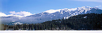 Downhill Ski Runs on Blackcomb Mountain (Coast Mountains), Whistler Ski Resort, BC, British Columbia, Canada - Panoramic View