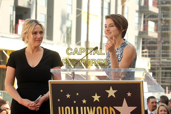 HOLLYWOOD, CA - March 17: Kate Winslet, Shailene Woodley at the Kate Winslet Star on the Hollywood Walk of Fame, Hollywood,  March 17, 2014.  <br /> CAP/MPI/JO<br /> &copy;Janice Ogata/MediaPunch/Capital Pictures