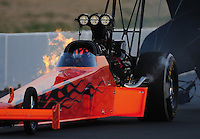 Jul. 29, 2011; Sonoma, CA, USA; NHRA top fuel dragster driver Mike Salinas during qualifying for the Fram Autolite Nationals at Infineon Raceway. Mandatory Credit: Mark J. Rebilas-