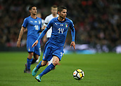 27th March 2018, Wembley Stadium, London, England; International Football Friendly, England versus Italy; Jorginho of Italy on the ball