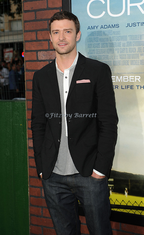 Justin Timberlake arriving at the Trouble With The Curve Premiere held at The  Village Theatre in Westwood, CA. September 19, 2012.