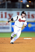 Nashville Sounds outfielder Caleb Gindl (13) runs the bases during a game against the Omaha Storm Chasers on May 19, 2014 at Herschel Greer Stadium in Nashville, Tennessee.  Nashville defeated Omaha 5-4.  (Mike Janes/Four Seam Images)