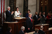 United States President Donald J. Trump delivers his second annual State of the Union Address to a joint session of the US Congress in the US Capitol in Washington, DC on Tuesday, February 5, 2019.<br /> CAP/MPI/RS<br /> &copy;RS/MPI/Capital Pictures