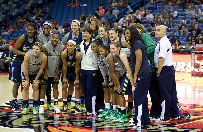 Apr 6, 2013; Head coach Muffet McGraw and team gather for a group photo after practice the day before the semifinals against Connecticut of the 2013 NCAA women's basketball Final Four at the New Orleans Arena. Photo by Barbara Johnston/ University of Notre Dame