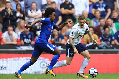 20th August 2017, Wembley Stadium, London, England; EPL Premier League football, Tottenham Hotspur versus Chelsea; Willian of Chelsea takes on Kieran Trippier of Tottenham Hotspur