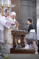 Pope Benedict XVI celebrates a mass in Rome's St John's in Lateran Basilica on June 7, 2012