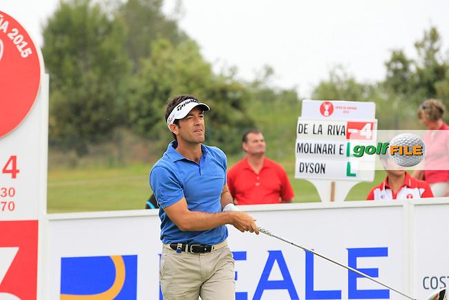 Eduardo De La Riva (ESP) on the 16th tee during Round 1 of the Open de Espana  in Club de Golf el Prat, Barcelona on Thursday 14th May 2015.<br /> Picture:  Thos Caffrey / www.golffile.ie