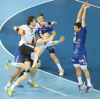 18.01.2013 Barcelona, Spain. IHF men's world championship, prelimanary round. Picture show Michael Haass   in action during game between France vs Germany at Palau St Jordi