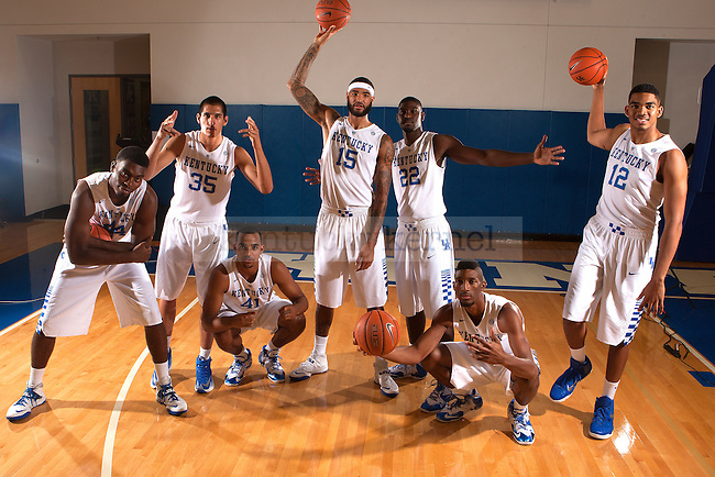 Forwards and centers pose for a photo during Men's Basketball photo day in Lexington, Ky.,on Thursday, September 4, 2014. Photo by Michael Reaves | Staff