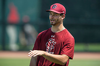 NWA Democrat-Gazette/BEN GOFF @NWABENGOFF<br /> Cody Morris, South Carolina pitcher, Friday, June 8, 2018, during practice for the NCAA Fayetteville Super Regional at Baum Stadium.