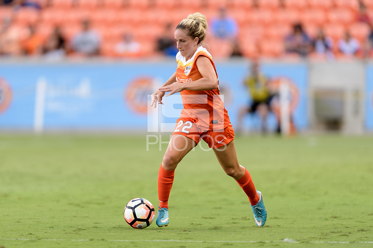 Houston, TX - Saturday June 17, 2017: Camille Levin brings the ball up the field during a regular season National Women's Soccer League (NWSL) match between the Houston Dash and the Orlando Pride at BBVA Compass Stadium.