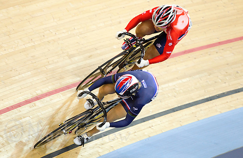 18 FEB 2012 - LONDON, GBR - Clara Sanchesz of France (FRA) (bottom) attempts to lose Lee Wai Sze of Hong Kong (HKG) during their Women's Sprint 1/8 round heat at the UCI Track Cycling World Cup, and London Prepares test event for the 2012 Olympic Games, in the Olympic Park Velodrome in Stratford, London, Great Britain .(PHOTO (C) 2012 NIGEL FARROW)