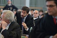 Roma, 19 Novembre 2015<br /> Pier Gerardo Santoro difensore Salvatore Buzzi.<br /> Imputati detenuti dietro le sbarre delle celle.<br /> Aula bunker di Rebibbia<br /> Terza udienza del processo Mafia Capitale, Roma Capitale, avvocati,