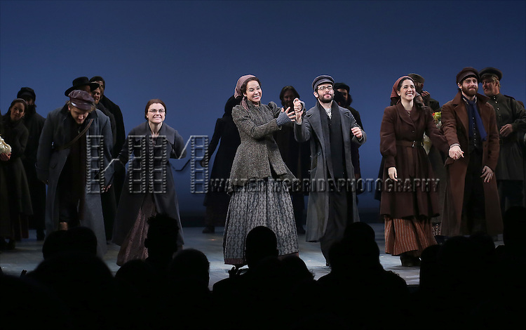 Nick Rehberger, Melanie Moore, Alexandra Silber, Adam Kantor, Samantha Massell and Ben Rappaport during the Broadway Opening Night Performance Curtain Call bows for 'Fiddler On The Roof'  at the Broadway Theatre on December 20, 2015 in New York City.