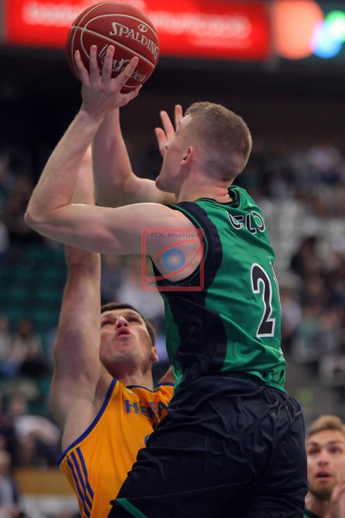 League ACB-ENDESA 2016/2017. Game: 28.<br /> Divina Seguros Joventut vs Herbalife Gran Canaria: 86-72.<br /> Darko Planinic vs Tomasz Gielo.