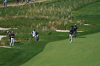 Jimmy Walker (USA) and Matt Kucher (USA) on the 18th fairway during the 3rd round at the PGA Championship 2019, Beth Page Black, New York, USA. 19/05/2019.<br /> Picture Fran Caffrey / Golffile.ie<br /> <br /> All photo usage must carry mandatory copyright credit (© Golffile | Fran Caffrey)