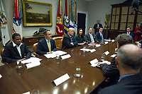 United States President Donald J. Trump makes remarks as he leads a prison reform roundtable in the Roosevelt Room of the White House in Washington, DC on Thursday, January 11, 2018.<br /> CAP/MPI/RS<br /> &copy;RS/MPI/Capital Pictures