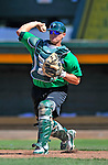 29 June 2012: Vermont Lake Monsters' catcher Rhett Stafford warms up prior to a game against the Lowell Spinners at Centennial Field in Burlington, Vermont. Mandatory Credit: Ed Wolfstein Photo