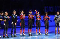 SCHAATSEN: DORDRECHT: Sportboulevard, Korean Air ISU World Cup Finale, 12-02-2012, Podium Relay Ladies, Team CHN, Kexin Fan, Jianrou Li, Meng Lin, Qiuhong Liu, ©foto: Martin de Jong