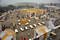 After the wedding ceremony of British/Punjabi couple Lindsay and Navneet Singh, guests gather for a reception at Grewal Farms in Amritsar.