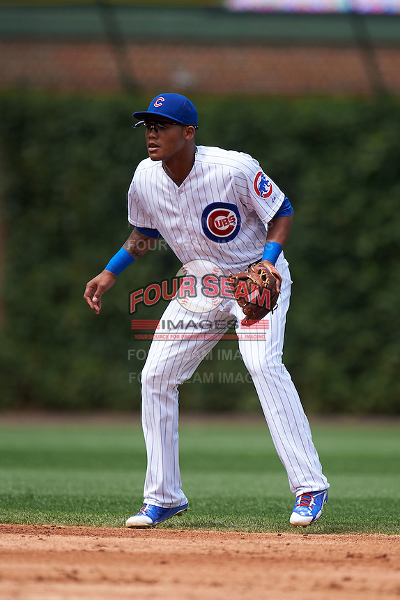 Chicago Cubs shortstop Addison Russell (22) during a game against the Milwaukee Brewers on August 13, 2015 at Wrigley Field in Chicago, Illinois.  Chicago defeated Milwaukee 9-2.  (Mike Janes/Four Seam Images)