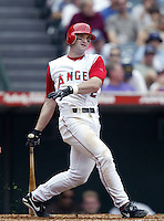 Adam Kennedy of the Los Angeles Angels bats during a 2002 MLB season game at Angel Stadium, in Anaheim, California. (Larry Goren/Four Seam Images)