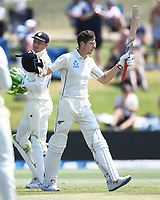 24th November 2019; Mt Maunganui, New Zealand;  Mitchell Santner celebrates his century during play on day 4 of the 1st international cricket test match, New Zealand versus England at Bay Oval, Mt Maunganui, New Zealand.  - Editorial Use