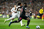 Real Madrid´s Marcelo Vieira (L) and Paris Saint-Germain´s Serge Aurier during Champions League soccer match between Real Madrid  and Paris Saint Germain at Santiago Bernabeu stadium in Madrid, Spain. November 03, 2015. (ALTERPHOTOS/Victor Blanco)