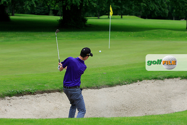 Barry Howlin (The Heritage) in a bunker on the 15th during Round 1 of the 2016 Leinster Boys Amateur Open Championship at Mullingar Golf Club on Tuesday 21st June 2016.<br /> Picture:  Golffile | Thos Caffrey